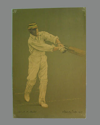 Print of cricketer Henry K. Foster from a lithograph by A. Chevallier Tayler 1905