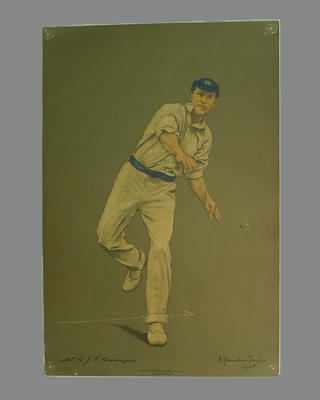 Print of cricketer B.J.T. Bosanquet from a lithograph by A. Chevallier Tayler 1905