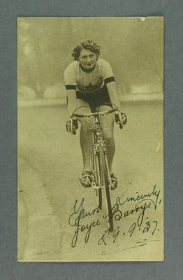 Autographed trade card featuring Joyce Barry, 29 Sept 1937