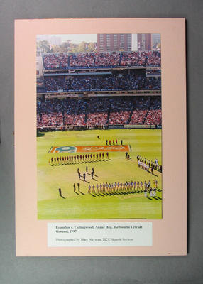 Colour photograph taken prior to Essendon v Collingwood match, Anzac Day 1997
