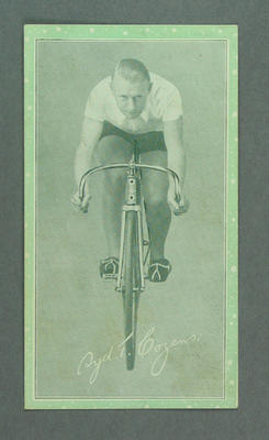 Trade card featuring Sydney Cozens, c1930s