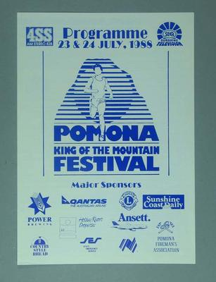 Programme, Pomona King of The Mountain Festival 1988