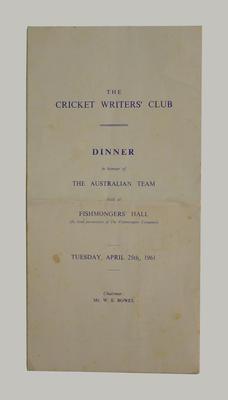 Menu, The Cricket Writers' Club dinner - 25 April 1961