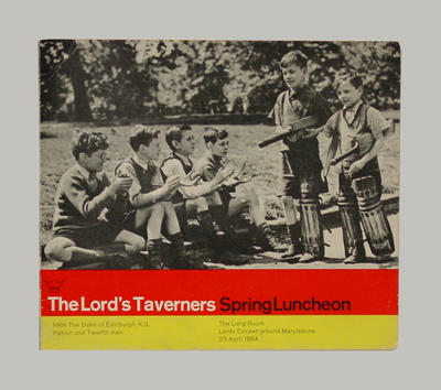 Menu, The Lord's Taverners spring luncheon - 23 April 1964