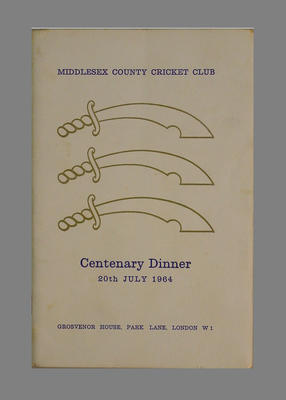 Menu, Middlesex County Cricket Club Centenary Dinner - 20 July 1964