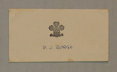 Place card, Surrey County Cricket Club dinner to the Australian cricket team - 1964