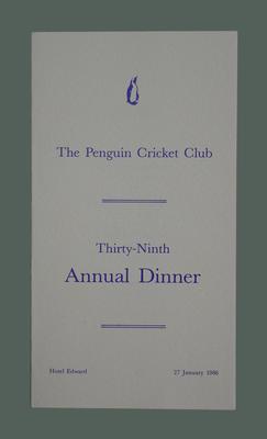 Menu, The Penguin Cricket Club dinner - 27 Jan 1986