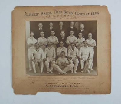 Photograph - Albert Park Old Boys' Cricket Club 1937-38 - presented to A.J. Stodgell, President.