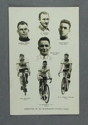 Trade card depicting Australian Cycling Team, 1935