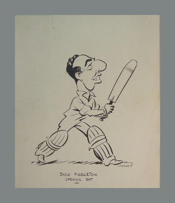"Cartoon of cricketer titled  ""Jack Fingleton Opening Bat"" drawn by Alexander G. Gurney"