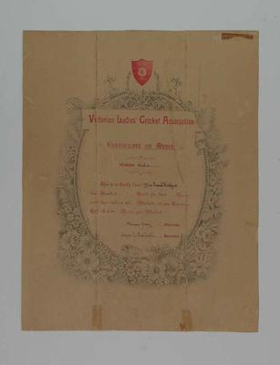 Victorian Ladies Cricket Association certificate of merit, presented to Gracie Watsford 1905-06