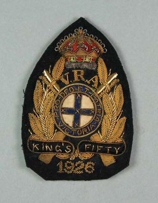 Bullion badge awarded to W Williams, VRA King's Fifty 1926