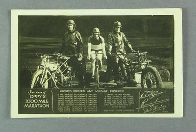 Trade card souvenir of Hubert Opperman's 1000 Mile Marathon, c1930