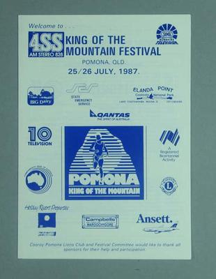 Programme, Pomona King of The Mountain Festival 1987