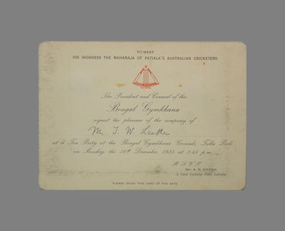 Invitation from the Bengal Gymkhana President and Council to T.W. Leather to a Tea Party on 20 December 1935; Documents and books; M3796