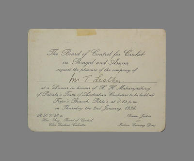 Dinner invitation from the Board of  Control for Cricket in Bengal and Assam to T.W. Leather, 2 January 1936; Documents and books; M3794