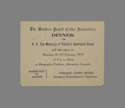 Dinner invitation from The Southern Punjab Cricket Association to H.H. The Maharaja of Patiala's Australian Eleven, 6 January 1936; Documents and books; M3792