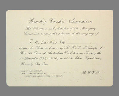 Invitation from Bombay Cricket Association to T.W. Leather 3 December 1935; Documents and books; M3785
