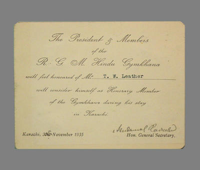 Advice to T.W. Leather of honorary membership to R.G.M. Hindu Gymkhana  1935; Documents and books; M3790
