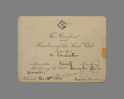 Advice - T.W. Leather granted Honorary Membership of The Sind Club Nov. 1935; Documents and books; M3793