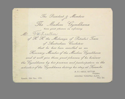 Advice to T.W. Leather of honorary membership to  The Muslim Gymkhana 1935; Documents and books; M3788