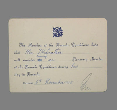 Advice to T.W. Leather of honorary membership to The Karachi Gymkhana  1935; Documents and books; M3789