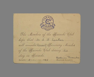 Advice - advising T.W. Leather of Honorary Membership to Karachi Club, 1935; Documents and books; M3795