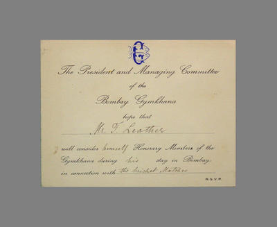 Advice to T.W. Leather of honorary membership to the Bombay Gymkhana  1935; Documents and books; M3791