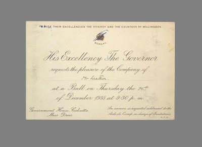 Invitation from His Excellency the Governor of Bengal to T.W. Leather 26/12/35