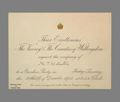 Invitation from The Viceroy & Countess of Willingdon to T.W. Leather 24/12/35; Documents and books; M3786