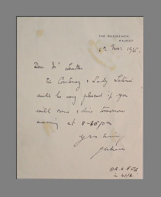Letter from Sir Courtney & Lady Latimer to T.W. Leather dated 6 Nov. 1935; Documents and books; M3783