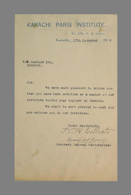 Letter from Karachi Parsi Institute to T.W. Leather 17 Nov 1935 re membership; Documents and books; M3784