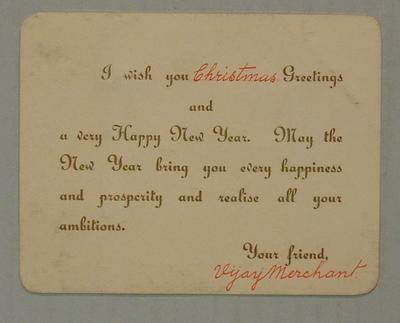Christmas greeting card, Vijay Marchant to Tom Leather c1935; Documents and books; M4465