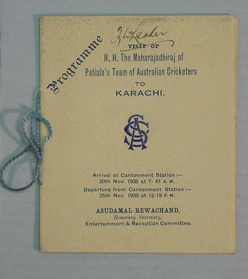 Programme, Visit of Australian Cricketers to Karachi - 1935; Documents and books; M4541