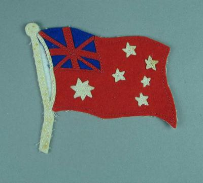 Cloth badge of red Australian flag, associated with 1936 Olympic Games