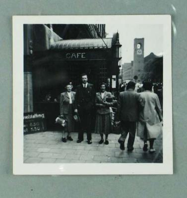 Photograph of Frank Beaurepaire's wife, a Sydney banker and unidentified woman in Amsterdam, May 1957; Photography; 1986.1300.56