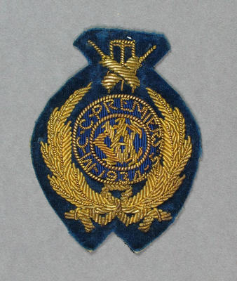 Oval Fabric Pocket Badge - MCC Premiers 1934-35 - owned by Keith E. Rigg