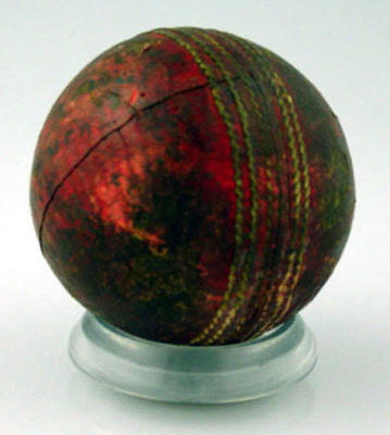 """Cricket ball, inscribed """"Innings, NSW v Vic, Melbourne 1926"""""""