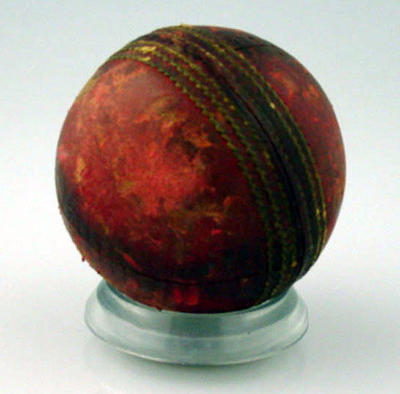Cricket ball inscribed 'Aust v Eng, [19]36-37, 4th Test, Adelaide, 1 Innings, Rigg'.