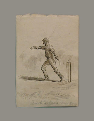 "Watercolour, ""Sam Cosstick round arm bowler"" - 1875"
