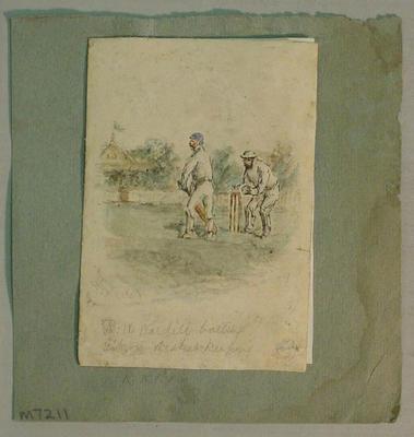 Watercolour titled 'R.W. Wardill batting, Gibson wicket-keeping', signed  by artist H.J.W. 1869; Artwork; M7211