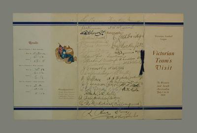 VFL Fixtures Programme 1-16 July 1929 - Victorian Team visits to WA & SA