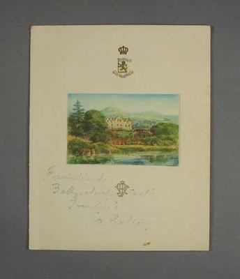 Menu: Banquet given by Kumar Shri Ranjitsinhji for the 1930 Australian XI in England