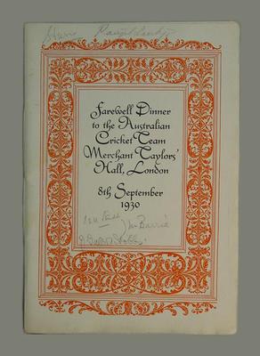 Menu: Farewell Dinner, Australian XI, at Merchant Taylors' Hall, London 8/9/1930