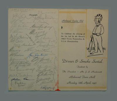 Menu: Richmond C.C., 1946-7 VCA Premiership & Championship celebration 28/4/47