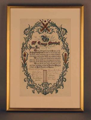 Valedictory Address presented to George Marshall by English Eleven, 25/4/1864