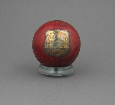 Cricket Ball presented to Henry F. Boyle by East Melbourne CC Season 1892-3; Sporting equipment; M7223