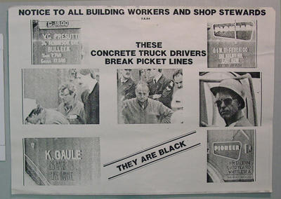 """Poster - """"Notice to all Building Workers ..."""" re 1984 industrial dispute - MCG Lights"""