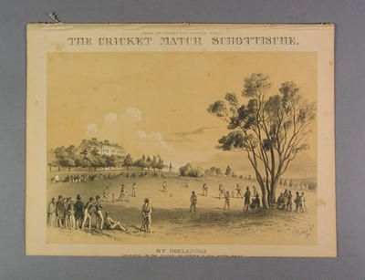 "Sheet music: ""The Cricket Match Schottische"" by E.D. Boulanger, dedicated to the Eleven's of Victoria and NSW."
