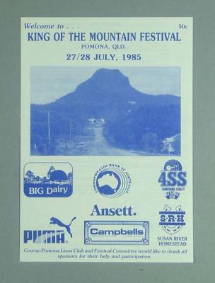 Programme, Pomona King of The Mountain Festival 1985; Documents and books; 1989.2148.9